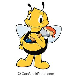 Cartoon Painter Bee