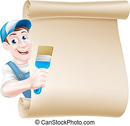 Cartoon Painter Decorator Scroll