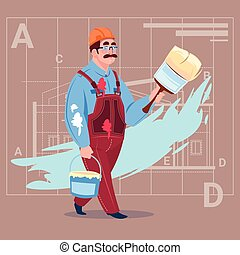 Cartoon Painter Hold Paint Brush Decorator Builder Wearing Uniform And Helmet