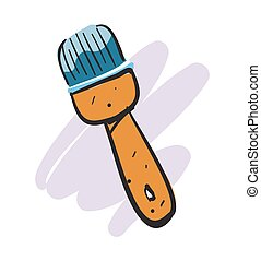 Cartoon painting brush isolated vector icon