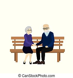 Cartoon Pair of old people are sitting on a bench