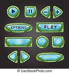 Cartoon pale blue buttons with leaves