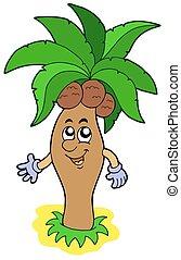 Cartoon palm tree - isolated illustration.
