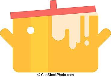 Cartoon pan cooking steel home kitchen equipment pot vector illustration.