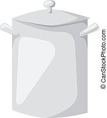 Cartoon pan cooking steel home kitchen equipment pot vector...