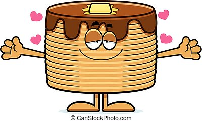 Cartoon Pancakes Hug - A cartoon illustration of a stack of...