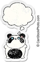 cartoon panda and thought bubble as a distressed worn sticker