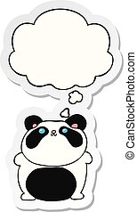 cartoon panda and thought bubble as a printed sticker