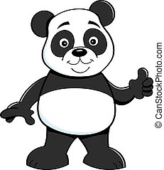 Cartoon panda bear giving thumbs up