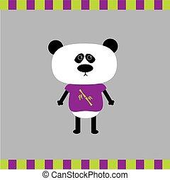 Cartoon panda boy card Flat design