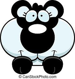 Cartoon Panda Cub Peeking - A cartoon illustration of a...