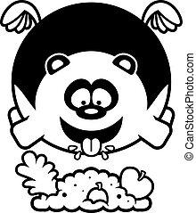 Cartoon Panda Eating - A cartoon illustration of a panda...