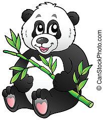 Cartoon panda eating bamboo - vector illustration.