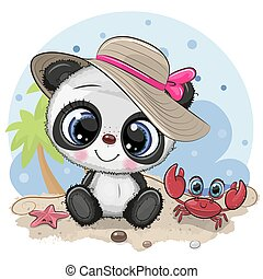 Panda Girl in a hat and cute crab on the beach