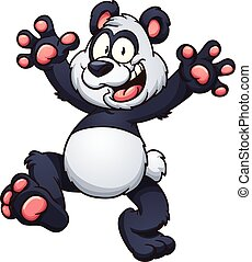 Happy cartoon panda. Vector clip art illustration with simple gradients. All in a single layer.