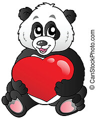 Cartoon panda holding red heart - vector illustration.