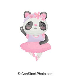 Cartoon panda in ballerina dress. Vector illustration on white background.