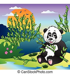 Cartoon panda in bamboo forest - vector illustration.