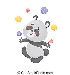 Cartoon panda juggler. Vector illustration on a white background.