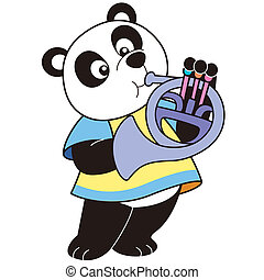 Cartoon Panda Playing a French Horn