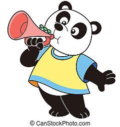 Cartoon Panda Playing a Trumpet - Cartoon Panda playing a...