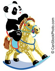 cartoon panda riding a rocking hors