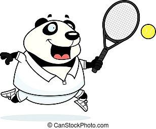 Cartoon Panda Tennis