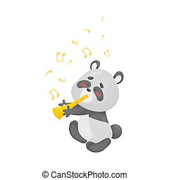 Cartoon panda with a pipe. Vector illustration on a white background.