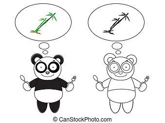 Cartoon panda with bamboo
