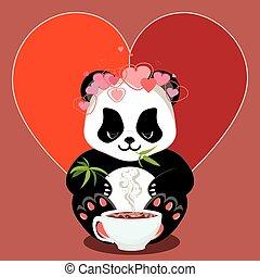 Cartoon panda with heart