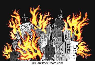 cartoon panel city skyscrapers fire vector illustration