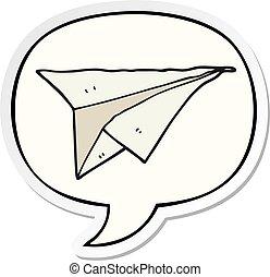 cartoon paper airplane and speech bubble sticker