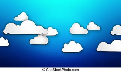 Cartoon Paper Clouds on blue loop