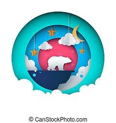 Cartoon paper landscape. Bear illustration. Star, cloud, moon, mountain.