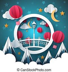Cartoon paper landscape. Bridge, mountain, air balloon, moon, cloud illustration.