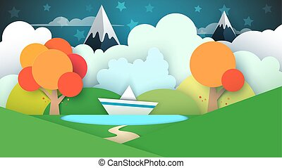 Cartoon paper landscape. Lake, ship, mountain.