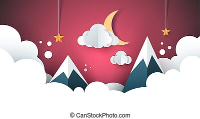 cartoon paper landscape. Mountain, cloud, moon, star.