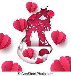 Cartoon paper landscape. Princess, castle, heart, air balloon illustration.