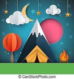 Cartoon paper landscape. Tree, mountain, fire, tent, moon, cloud star illustration.