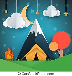 Cartoon paper landscape. Tree, mountain, fire, tent, moon,...