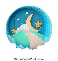 Cartoon paper night landscape. Moon, star, cloud, road.