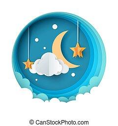 Cartoon paper night landscape. Moon, star, cloud road