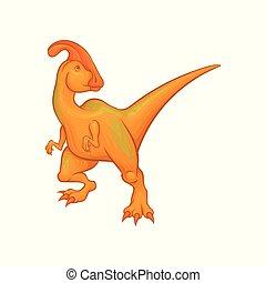 Cartoon parasaurolophus character. Fantastic creature with...