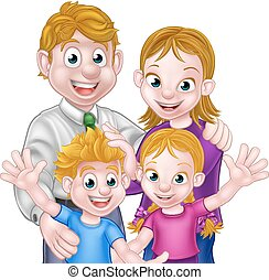 Cartoon Parents and Kids - Cartoon children with their...