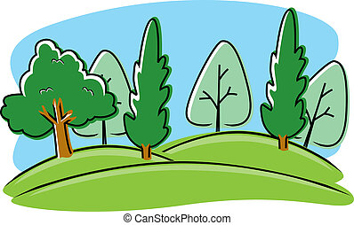 A cartoon illustration of a park with trees.