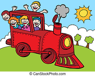 Cartoon Park Train Ride Color - Kids wave from a train.