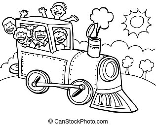 Cartoon Park Train Ride Line Art - Kids wave from a train.