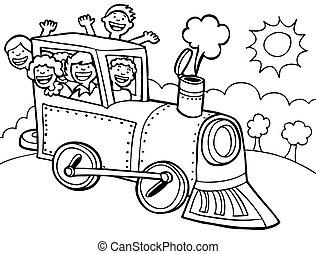 Cartoon Park Train Ride Line Art - Kids wave from a train.