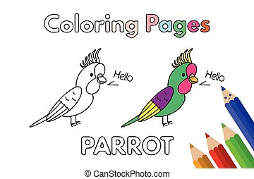 Cartoon Parrot Coloring Book
