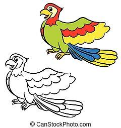Cartoon parrot. Coloring book